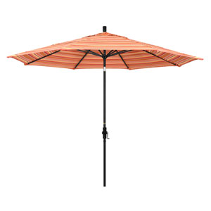 11 Foot Aluminum Market Umbrella Collar Tilt Double Vent Matted Black/Sunbrella/Dolce Mango