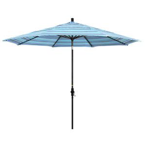 11 Foot Aluminum Market Umbrella Collar Tilt Double Vent Matted Black/Sunbrella/Dolce Oasis