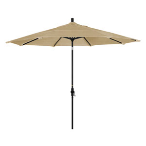 11 Foot Umbrella Aluminum Market Collar Tilt Double Vent Matted Black/Sunbrella/Sesame Linen