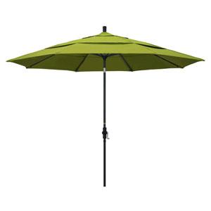 11 Foot Umbrella Aluminum Market Collar Tilt Double Vent Matted Black/Pacifica/Ginkgo