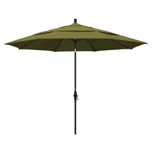 11 Foot Umbrella Aluminum Market Collar Tilt Double Vent Matted Black/Pacifica/Palm
