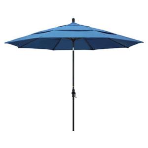 11 Foot Umbrella Aluminum Market Collar Tilt Double Vent Matted Black/Pacifica/Capri