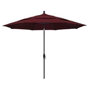 11 Foot Umbrella Aluminum Market Collar Tilt Double Vent Matted Black/Pacifica/Burgandy