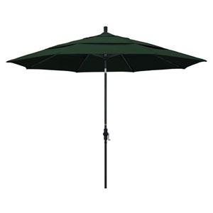 11 Foot Umbrella Aluminum Market Collar Tilt Double Vent Matted Black/Pacifica/Hgreen