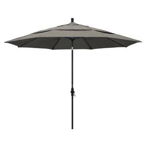 11 Foot Umbrella Aluminum Market Collar Tilt Double Vent Matted Black/Pacifica/Taupe