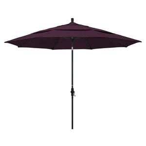 11 Foot Umbrella Aluminum Market Collar Tilt Double Vent Matted Black/Pacifica/Purple