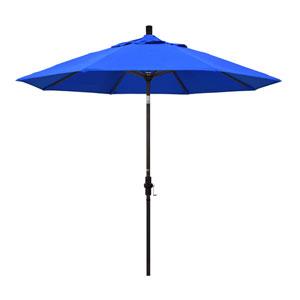 9 Foot Umbrella Aluminum Market Collar Tilt - Bronze/Sunbrella/Pacific Blue