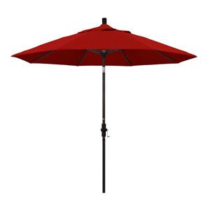 9 Foot Umbrella Aluminum Market Collar Tilt - Bronze/Sunbrella/Jockey Red