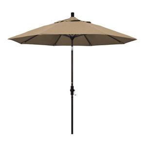 9 Foot Umbrella Aluminum Market Collar Tilt - Bronze/Sunbrella/Heather Beige