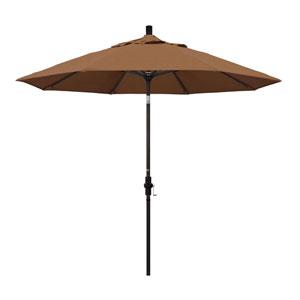 9 Foot Umbrella Aluminum Market Collar Tilt - Bronze/Sunbrella/Canvas Teak