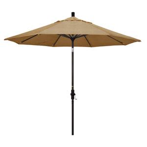 9 Foot Umbrella Aluminum Market Collar Tilt - Bronze/Sunbrella/Sesame Linen