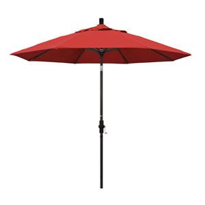 9 Foot Umbrella Aluminum Market Collar Tilt - Bronze/Olefin/Red