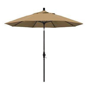 9 Foot Umbrella Aluminum Market Collar Tilt - Bronze/Olefin/Straw