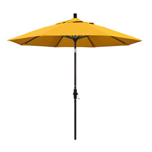 9 Foot Umbrella Aluminum Market Collar Tilt - Bronze/Pacifica/Yellow