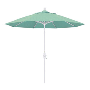 9 Foot Aluminum Market Umbrella Collar Tilt Matted White/Sunbrella/Spectrum Mist