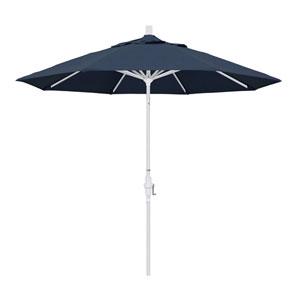 9 Foot Aluminum Market Umbrella Collar Tilt Matted White/Sunbrella/Spectrum Indigo