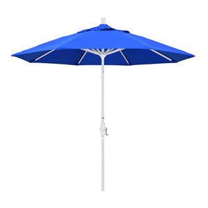 9 Foot Umbrella Aluminum Market Collar Tilt - Matted White/Pacific Blue