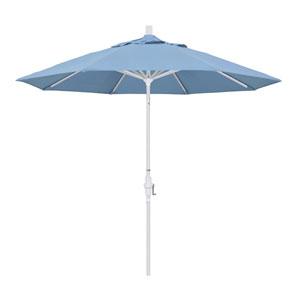 9 Foot Aluminum Market Umbrella Collar Tilt Matted White/Sunbrella/Air Blue