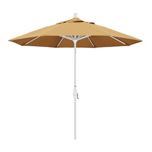 9 Foot Umbrella Aluminum Market Collar Tilt - Matted White/Sunbrella/Wheat