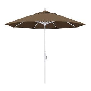 9 Foot Umbrella Aluminum Market Collar Tilt - Matted White/Sunbrella/Cocoa