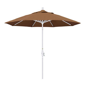 9 Foot Umbrella Aluminum Market Collar Tilt - Matted White/Sunbrella/Canvas Teak