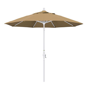 9 Foot Umbrella Aluminum Market Collar Tilt - Matted White/Olefin/Straw