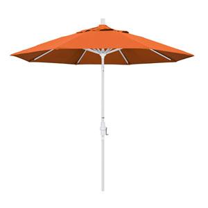 9 Foot Umbrella Aluminum Market Collar Tilt - Matted White/Pacifica/Tuscan