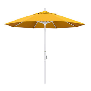 9 Foot Umbrella Aluminum Market Collar Tilt - Matted White/Pacifica/Yellow