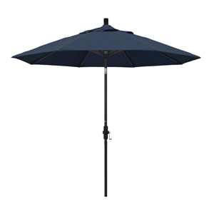 9 Foot Aluminum Market Umbrella Collar Tilt Matted Black/Sunbrella/Spectrum Indigo