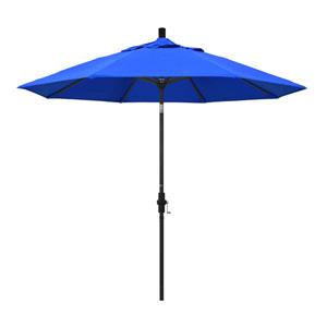 9 Foot Umbrella Aluminum Market Collar Tilt - Matted Black/Sunbrella/Pacific Blue