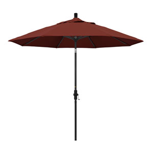 9 Foot Umbrella Aluminum Market Collar Tilt - Matted Black/Sunbrella/Henna