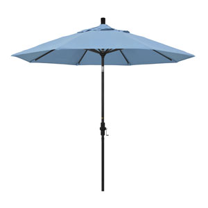 9 Foot Aluminum Market Umbrella Collar Tilt Matted Black/Sunbrella/Air Blue