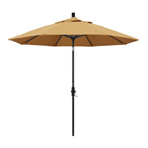 9 Foot Umbrella Aluminum Market Collar Tilt - Matted Black/Sunbrella/Wheat