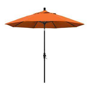 9 Foot Umbrella Aluminum Market Collar Tilt - Matted Black/Sunbrella/Tuscan
