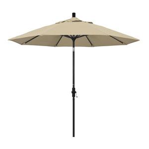 9 Foot Umbrella Aluminum Market Collar Tilt - Matted Black/Sunbrella/Ant.Beige