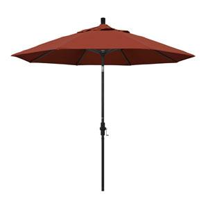 9 Foot Umbrella Aluminum Market Collar Tilt - Matted Black/Sunbrella/Terracotta