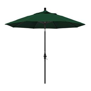 9 Foot Umbrella Aluminum Market Collar Tilt - Matted Black/Sunbrella/Forest Green