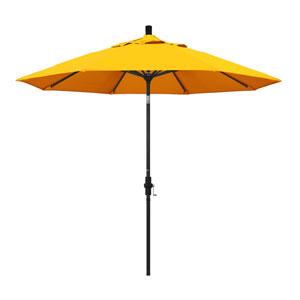 9 Foot Aluminum Market Umbrella Collar Tilt Matted Black/Sunbrella/Sunflower Yellow
