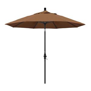 9 Foot Umbrella Aluminum Market Collar Tilt - Matted Black/Sunbrella/Canvas Teak