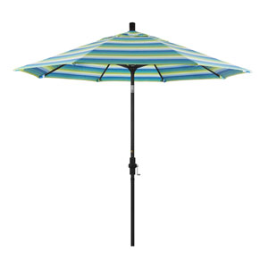 9 Foot Aluminum Market Umbrella Collar Tilt Matted Black/Sunbrella/Seville Seaside