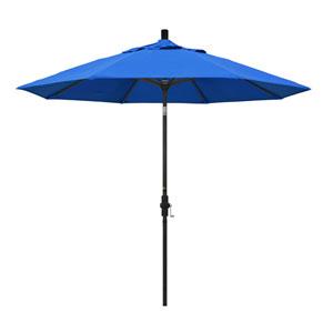 9 Foot Umbrella Aluminum Market Collar Tilt - Matted Black/Olefin/Pacific Blue