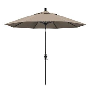 9 Foot Umbrella Aluminum Market Collar Tilt - Matted Black/Pacifica/Taupe