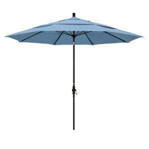 11 Foot Fiberglass Market Umbrella Collar Tilt Double Vent Bronze/Sunbrella/Air Blue