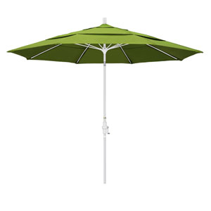 11 Foot Fiberglass Market Umbrella Collar Tilt Double Vent Matted White/Sunbrella/Macaw