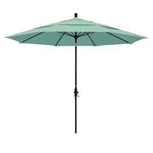 11 Foot Fiberglass Market Umbrella Collar Tilt Double Vent Matt Black/Sunbrella/Spectrum Mist