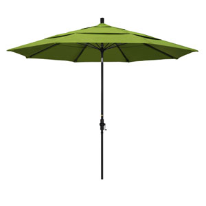 11 Foot Fiberglass Market Umbrella Collar Tilt Double Vent Matted Black/Sunbrella/Macaw