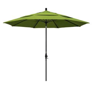 11 Foot Fiberglass Market Umbrella Collar Tilt Double Vent Matted Black/Sunbrella/Macaw