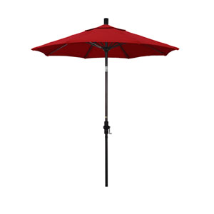 7.5 Foot Umbrella Fiberglass Market Collar Tilt - Bronze/Sunbrella/Jockey Red