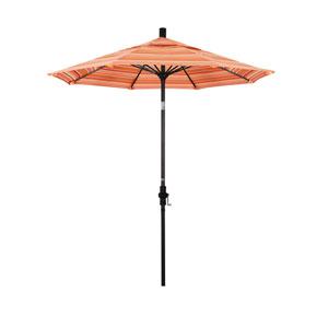 7.5 Foot Fiberglass Market Umbrella Collar Tilt Bronze/Sunbrella/Dolce Mango