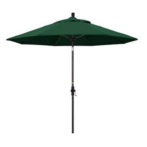 9 Foot Umbrella Fiberglass Market Collar Tilt Bronze/Olefin/Hunter Green